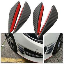 4Pcs Carbon Fiber Car-Styling Front Bumper Lip Splitter Fins Body Spoiler Decor