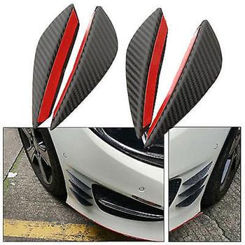 4Pcs Carbon Fiber Car-Styling Front Bumper Lip Splitter Fins Body Spoiler Decor image
