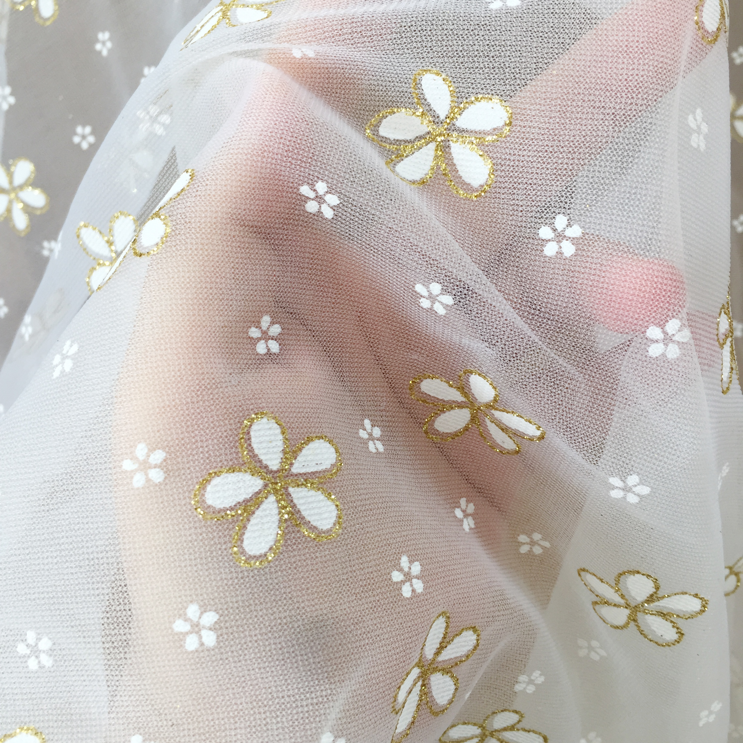 5 Yards Daisy Tulle Lace Fabric with Gold Glitter Embroidery for Bridal Gown Prom Dress DIY Craft 150cm Wide-0
