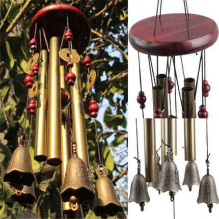 Dzwonek wietrzny mieszkanie na świeżym powietrzu pokój dom stoczni ogród rury dzwony miedzi antyczne niesamowite Grace głębokie rezonansowe 4 rury drzwi dekoracje wiszące