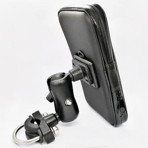 Image 3 - Motorcycle Cell Phone Mount Holder with Waterproof Zipper Case Handlebar Rail Mount Holder Case for iPhone 7/X, Galaxy S9 Plus