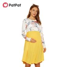 Skirt Nursing-Dress Parachute Arrivalmaternity Long-Sleeve Yellow New Patpat Floral Knee-Length