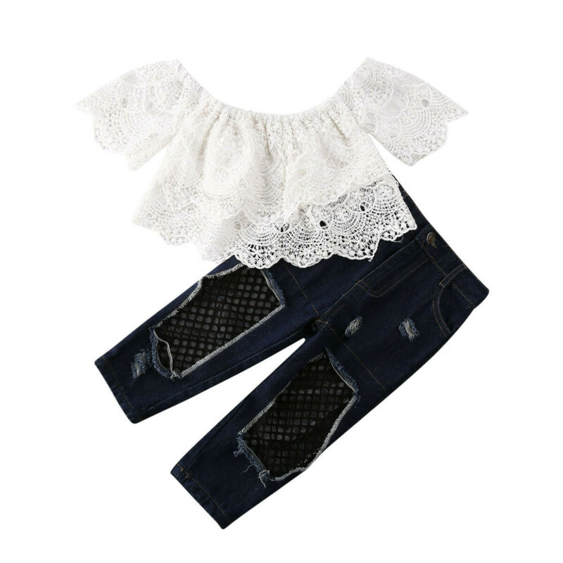 >2PCS sweet girls set Toddler Baby Girl Lace Off Shoulder Floral <font><b>white</b></font> crop Tops Ripped <font><b>Jeans</b></font> Denim Pants <font><b>Outfits</b></font> Clothes