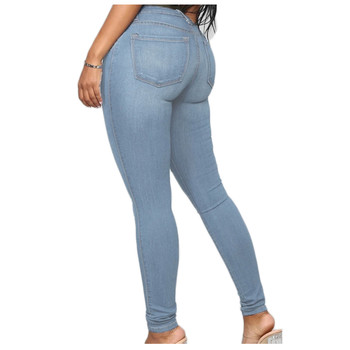 Women's 2021 New Fashion Simple And Casual Plus Size Solid Color Pockets High-Waisted Slimming Jeans Skinny Pencil Long Trousers 2