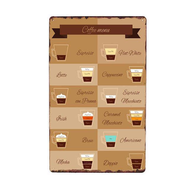 커피 메뉴 금속 주석 기호 빈티지 카페 바 펍 클럽 벽 장식 홈 장식 주석 표지판 레트로 철 그림 포스터