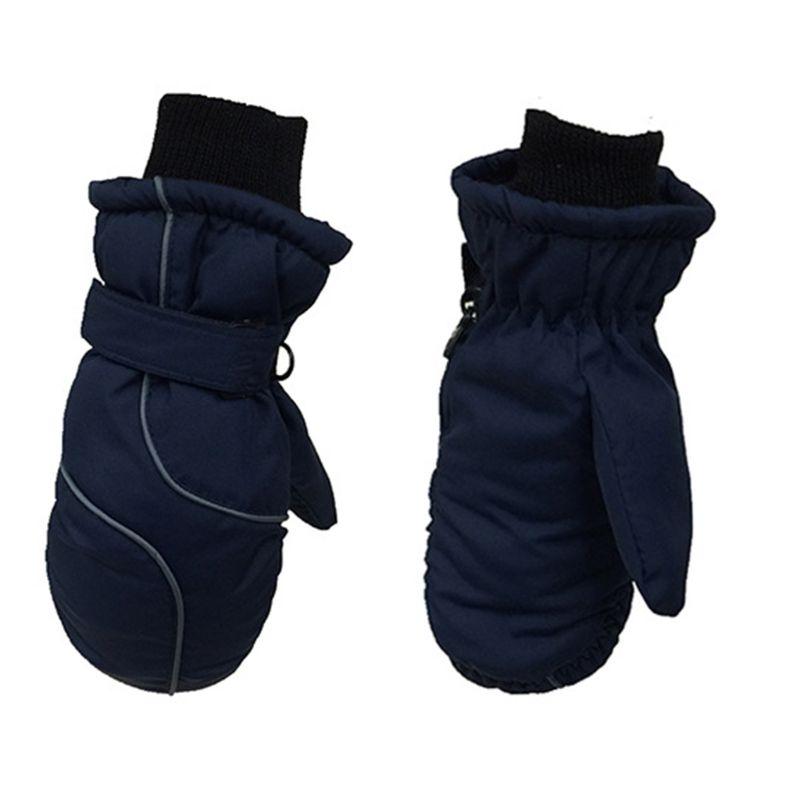 Kleinkind Kinder Winter Schnee <font><b>Ski</b></font> Handschuhe Wasserdicht Winddicht Einfarbig Patchwork Verdicken Warme Einstellbare Stretchy Fäustlinge 5-9T image