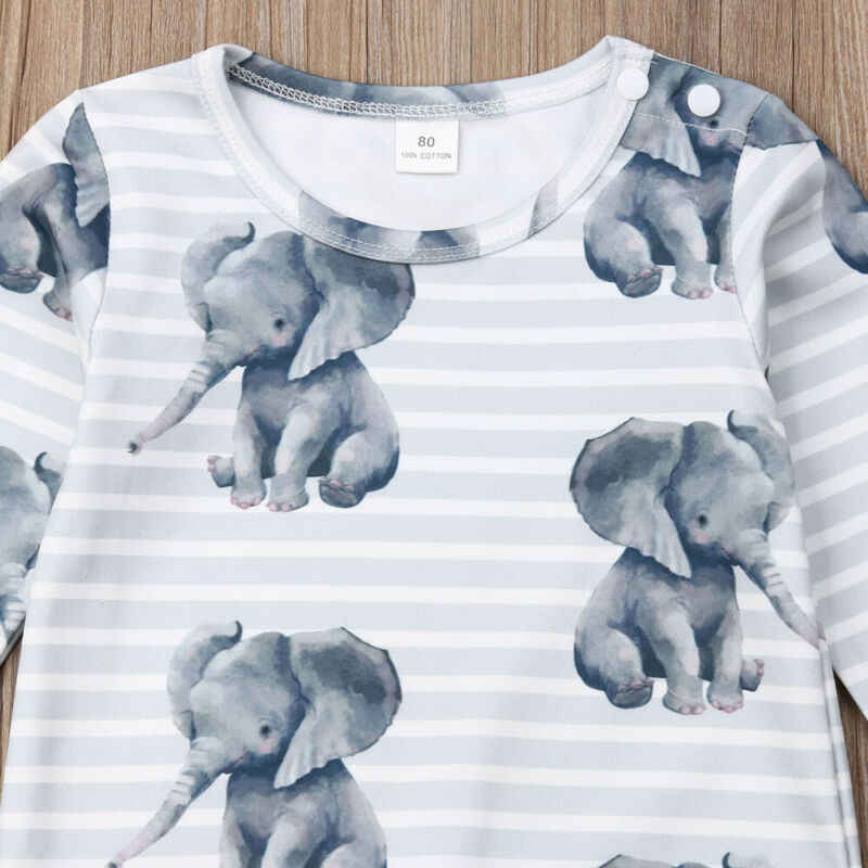 Modis Cartoon Autumn Cute Newborn Jumpsuit Kids Baby Boys Girls Romper Lovely Elephant Printed Toddler Infant Outfits Costumes