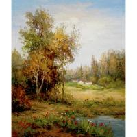 Gift wall art on canvas Poppies Pond village landscapes oil Paintings hand painted