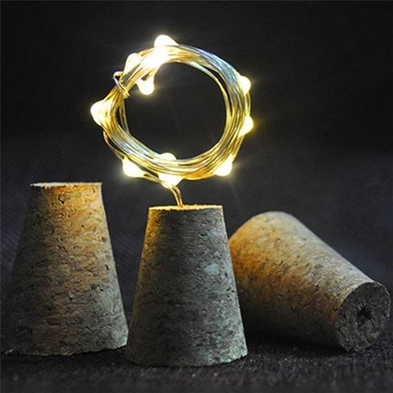 2M 20LED 4 Modes Timer Setting Waterproof Copper Wire Cork Bottle Lamp String Light for Bar Home Christmas Party Wedding Holiday