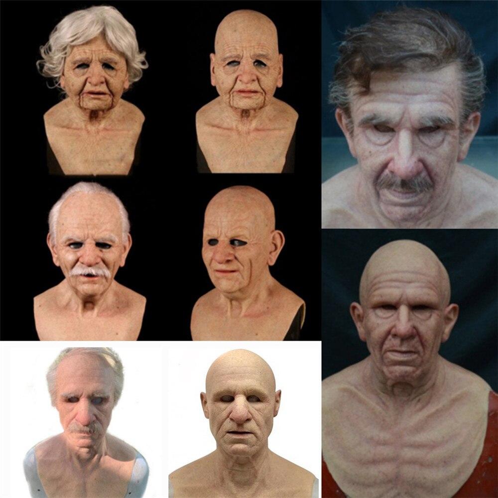 Косплэй резиновые старика уход за кожей лица Маска Реалистичные страшно для наращивания на всю голову латексная страшная маска головные уб...