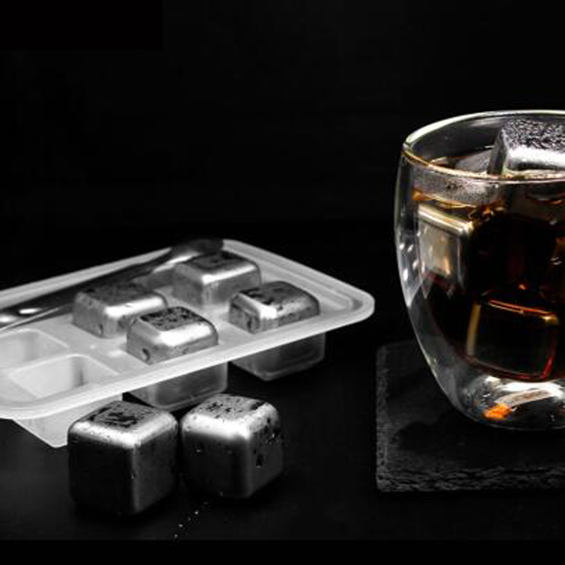 8Pcs Stainless Steel 304 Whisky Stones Ice Cubes Whiskey Cooler Rocks Ice Stone#