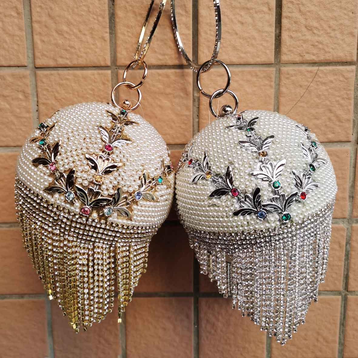 Bowling Design perle pochette anneau circulaire bracelets sac femmes fête soirée sac cristal glands boule femme portefeuille XQ-15
