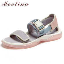 Meotina Sandals Women Natural Genuine Leather Flat Platform Shoes
