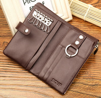 100% Spilt Leather Man Key Wallet High Capacity Cowhide ID Card Holder Zipper Multi function Car Keychain Cover for Gifts