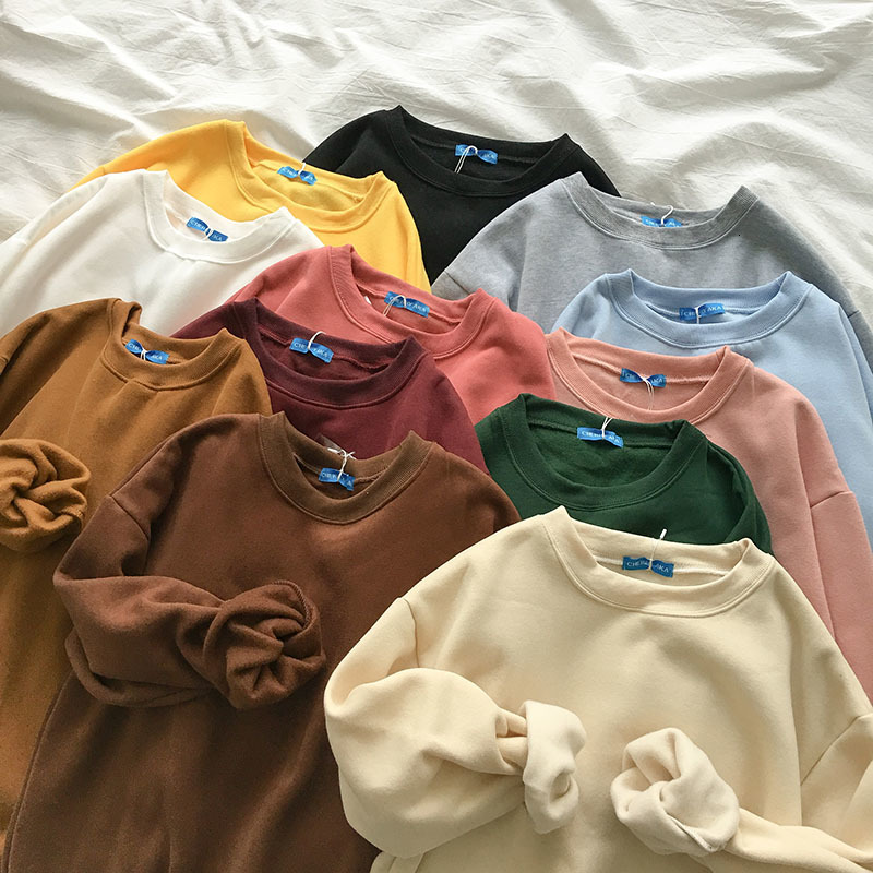 Autumn Basic Sweatshirt Women Casual Oversize Thickening Long Sleeve Blue Yellow Pullover Female Candy Color Loose Cotton Tops