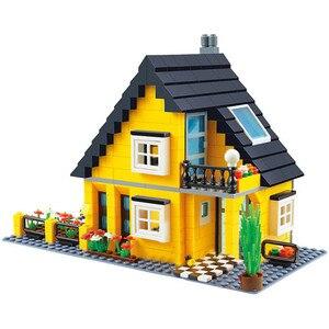 Image 2 - مدينة العمارة الفرنسية فيلا كوخ نموذج تجميع الطوب اللبنات عدة DIY بها بنفسك هدايا التعليم