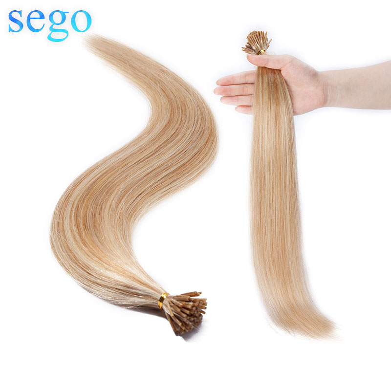 SEGO 16-22 Inch 100 Strands Non-Remy I Tip 100% Real Human Hair Stick Keratin Pre Bonded Hair Extensions Straight 0.5g/s