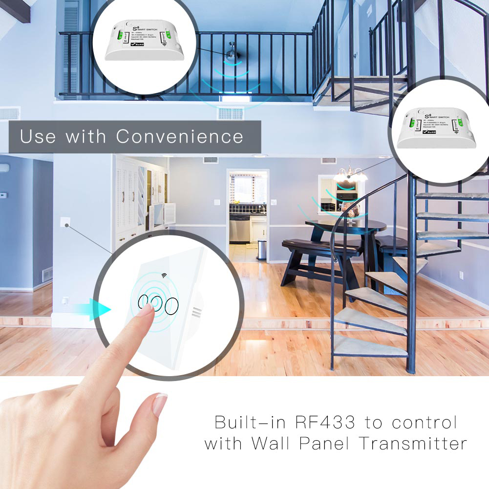 Image 5 - No Neutral Wire Needed WiFi RF433 Smart Wall Switch Smart Life Tuya Remote Control Single Fire Work with AlexaSwitches   -