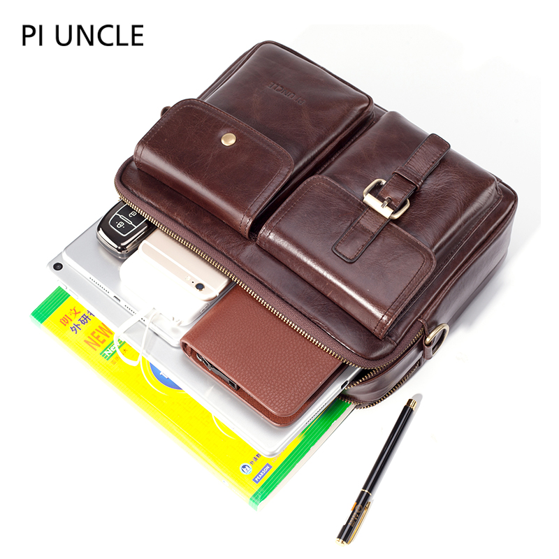 Image 4 - Mens Briefcase Pack Genuine Leather Shoulder Bag Male Vintage Crossbody Bags Men Messenger Multi Compartment Handbags LeatherTop-Handle Bags   -