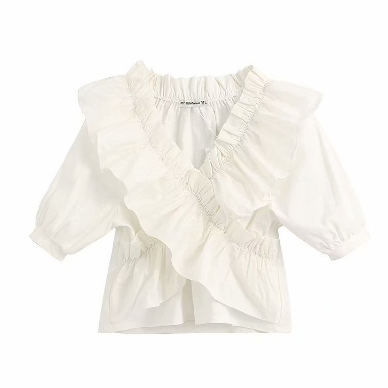 Women Vintage V Neck Cross Cascading Ruffles Solid Blouse Office Lady Short Sleeve Chic Shirt Brand Feminina Blusas Tops LS6407