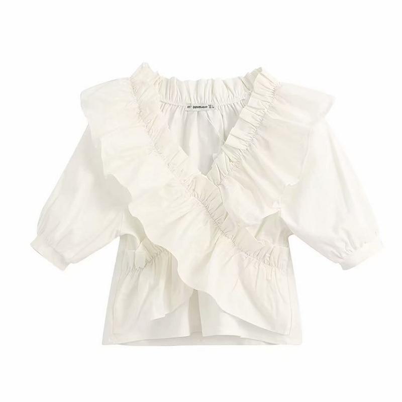 Women Vintage V Neck Cross Cascading Ruffles Solid Blouse Office Lady Short Sleeve Chic Shirt Brand Feminina Blusas Tops LS6407