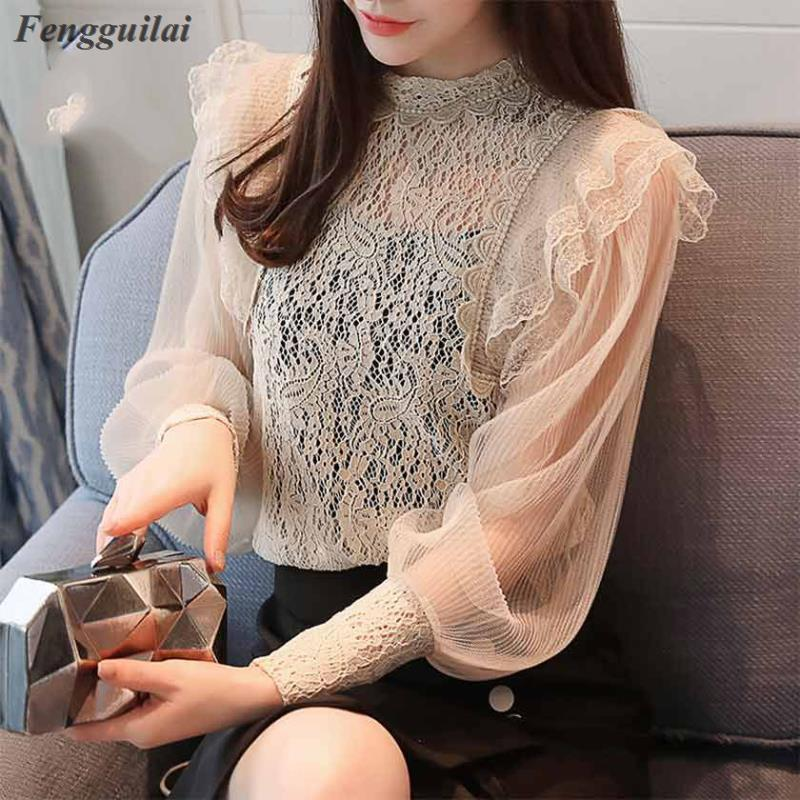 2020 Spring Women Lace Blouse Long Sleeve Fashion Blouses and Shirts Hollow Out Casual Female Clothing Plus Size 2XL