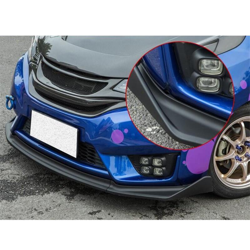 CEYUSOT For 3PCS Honda Fit Jazz Car Front Bumper Lip Body Kit Diffuser Deflector Spoiler Splitter Lip Guard Jazz Spoiler 2014-17
