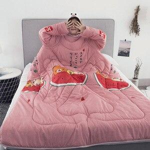 Image 5 - Zimowe kołdry kołdra dla leniwych z rękawami rodzina rzut koc z kapturem peleryna płaszcz kocyk na drzemkę dormitorium płaszcz pokryty kocem