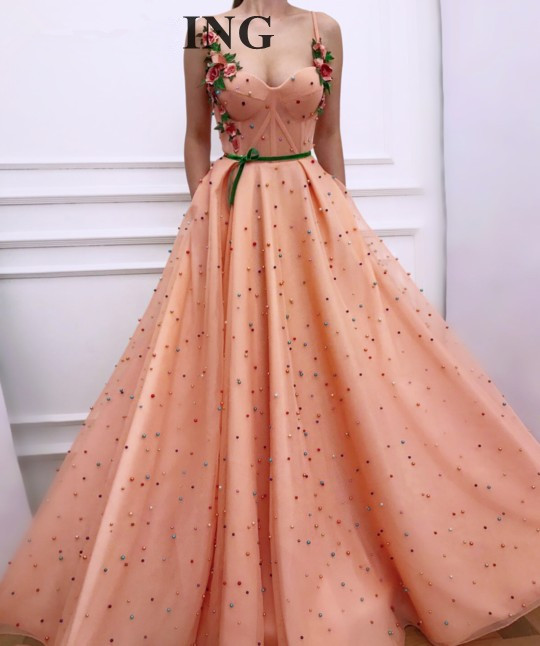 Peach 2019 Muslim   Evening     Dresses   A-line Spaghetti Straps Tulle Pearls Flowers Dubai Saudi Arabic Long   Evening   Gown Prom