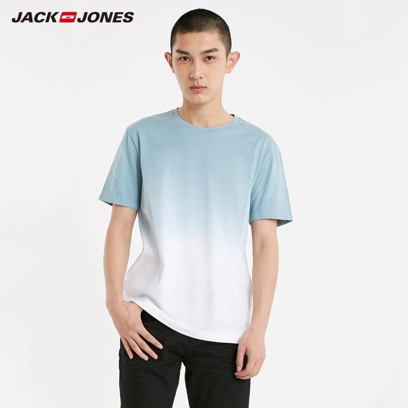 JackJones Men's 100% Cotton Dyed Gradient Round Neckline Short-sleeved T-shirt Menswear Basic| 219101576
