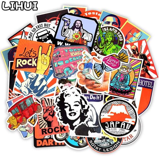 50 PCS Retro Style Sticker Graffiti Viaggio Divertente JDM Adesivi per il FAI DA TE Sticker sulla Valigia Dei Bagagli Del Computer Portatile di Skateboard Bicicletta Auto 1