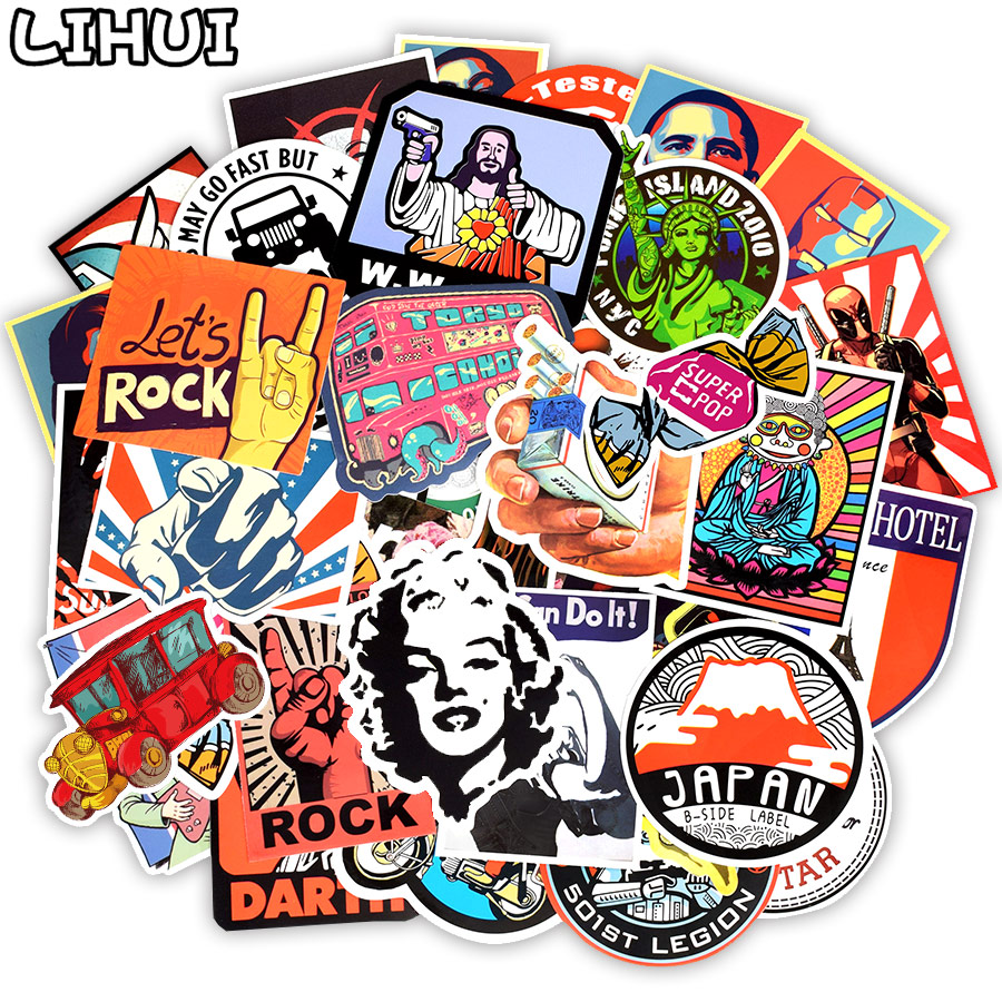 50 PCS Retro Style Sticker Graffiti Travel Funny JDM Stickers For DIY Sticker On Suitcase Luggage Laptop Bicycle Skateboard Car