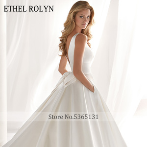 Image 3 - ETHEL ROLYN Elegant Satin Vintage Wedding Dress 2020 Sexy V neckline Bow Simple Bride A Line Bridal Gowns Vestido De Noiva