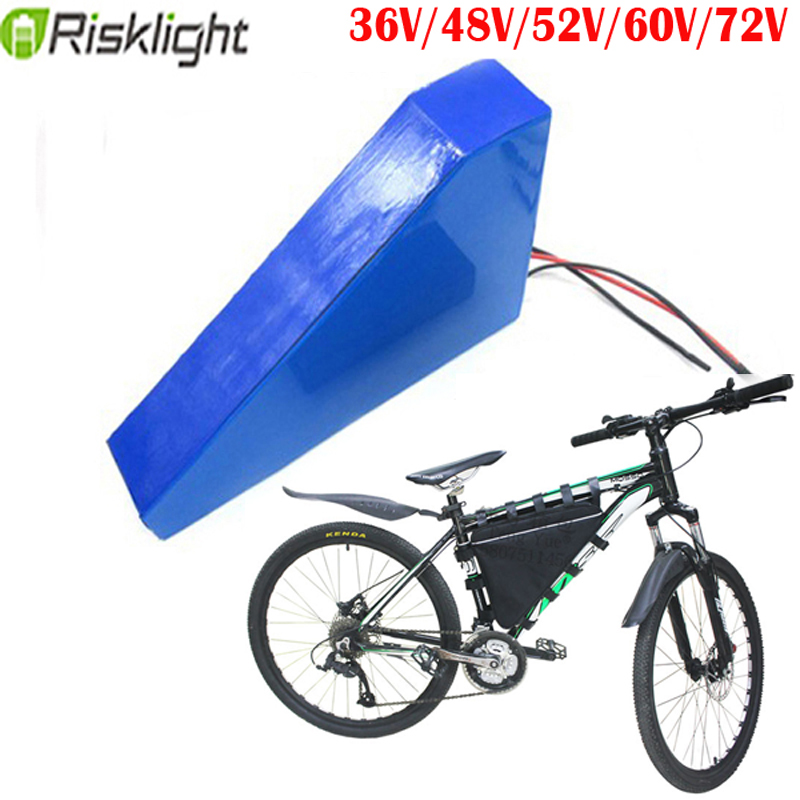 Triangle E bike <font><b>Battery</b></font> 36V 48V 60V <font><b>72V</b></font> <font><b>20AH</b></font> 30AH Electric bike <font><b>Lithium</b></font> <font><b>Battery</b></font> Pack for 500w 1000w 20000w 3000w electric motor image