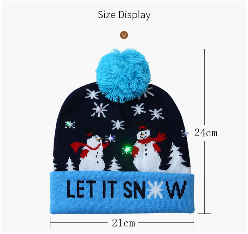 H2d6e5891768a4caa8ac7e0cf91670f7cg - LED Light Christmas Hats Beanie Sweater knitted Christmas Santa Hat Light Up Knitted Hat for Kid Adult For Christmas Party