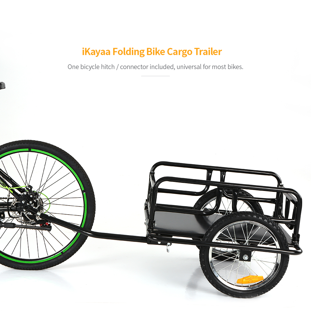 New Folding Bike Cargo Trailer Hand Wagon Bicycle Luggage Trailer Storage Cart Carrier W/ Detachable Metal Frame Hitch