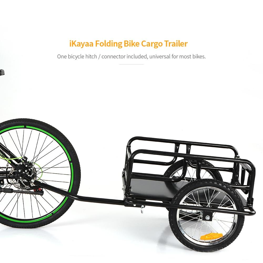 New Folding Bike Cargo Trailer Hand Wagon Bicycle Luggage Trailer Storage Cart Carrier W/ Detachable Metal Frame Hitch