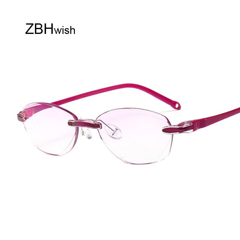Anti Blue Reading Glasses Women Dimond Cutting Rimless Eyewear Anti Fatigue Hyperopia Presbyopic Glasses +1.5