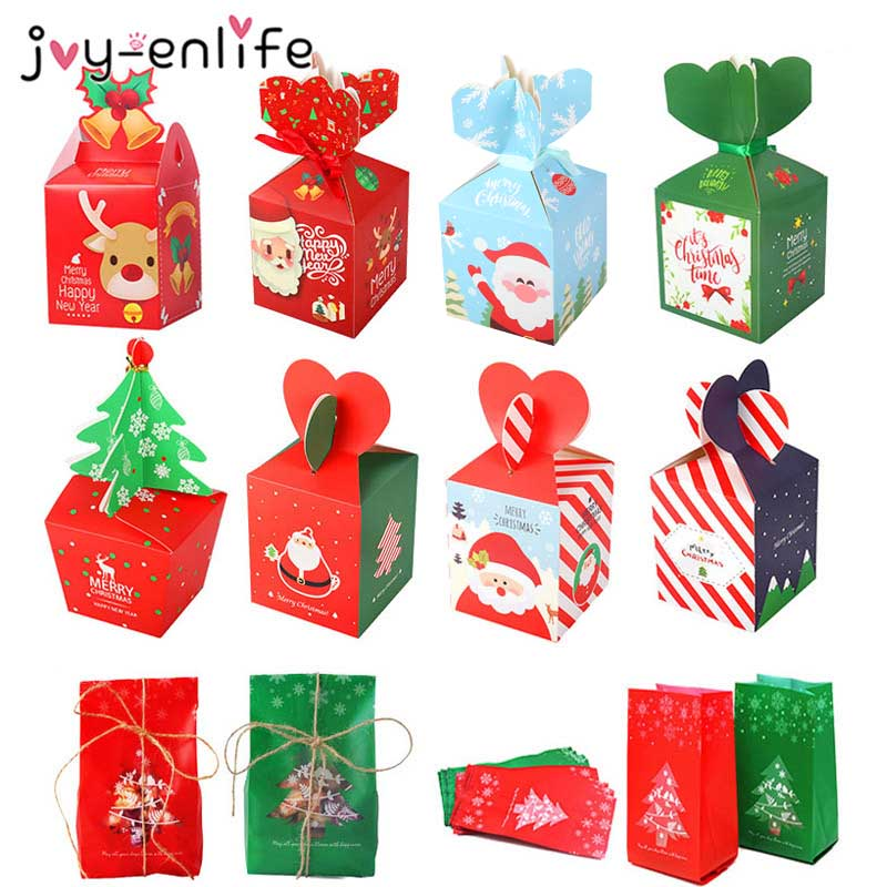 Christmas Gift Box Treat Bags Xmas Decoration Candy Box Noel Christmas Home Decor Package Bag New Year Natal Navidad Party Decor