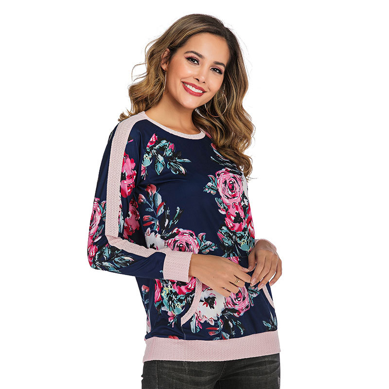 2019 Women Shirts New Print Raglan Sleeve Tees Female Casual Loose Size t shirts Fashion Pullover O Neck Shirts with Pocket in T Shirts from Women 39 s Clothing