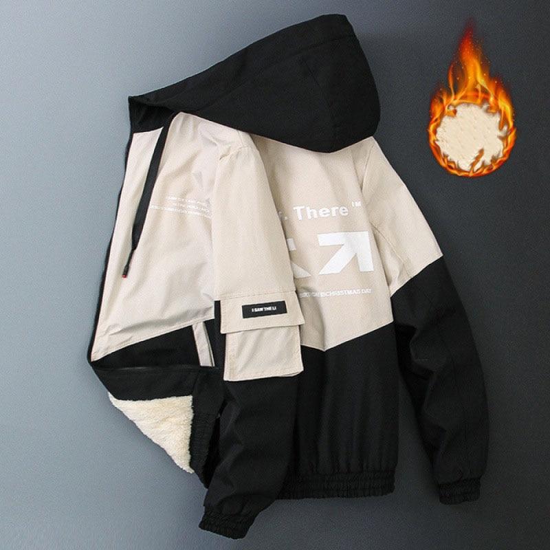 2020 neue Herbst und Winter Männer Mantel der Parker Große Tasche Casual Jacke Mit Kapuze Nähte 5 Farben Dicke Warme Mit Kapuze männer der Jacke