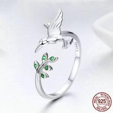 Rongxing prata cor colibri & folhas anel para mulher verde zircão natureza estilo prata cor jóias presente de natal