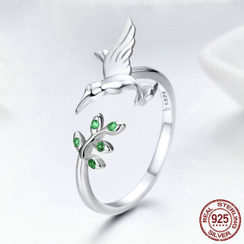 RongXing серебряное кольцо с колибри и листьями для женщин зеленый циркон натуральный стиль Серебряный цвет ювелирные изделия Рождественский ...