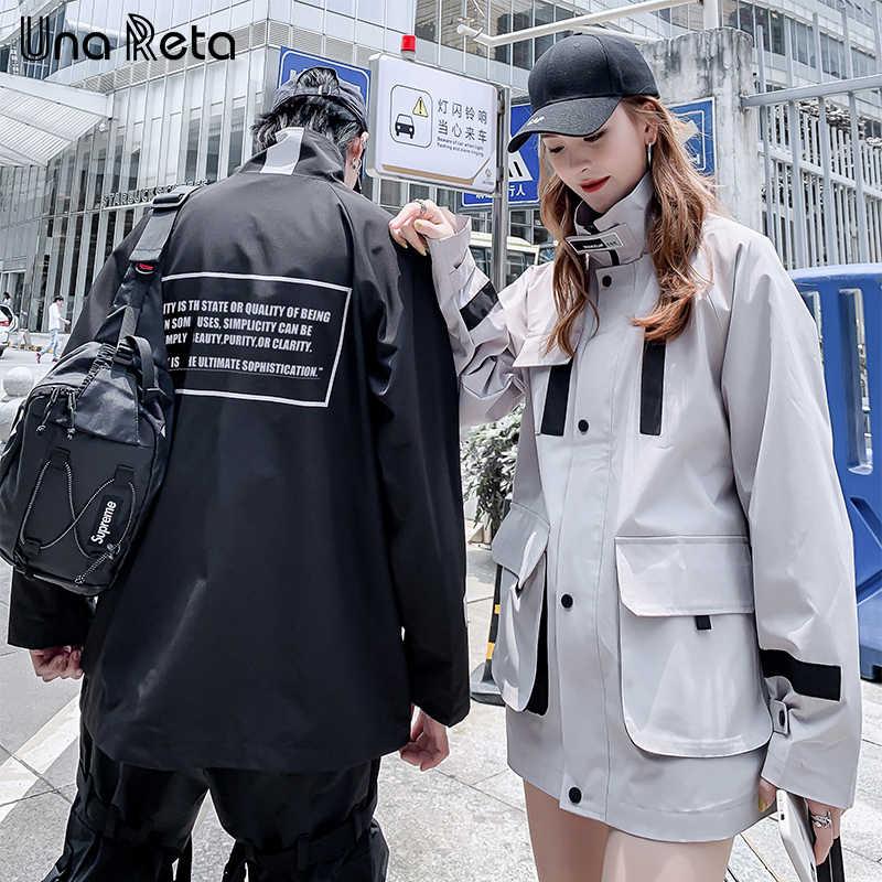 UnaReta ветрозащитная куртка Для мужчин новая пара высокого качества куртка-штормовка для девочек человек в стиле «хип-хоп» с капюшоном куртка в уличном стиле, повседневная верхняя одежда