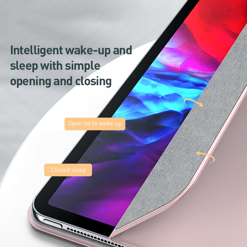 Baseus magnética tablet caso para ipad pro 11 12.9 caso 2020 de três dobras capa traseira do plutônio para ipad pro 11 12.9 2020 smart cover caso 6