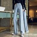 Vintage Hohe Taille Breite Bein Gerade Lose Jeans für Frauen XS S M L XL