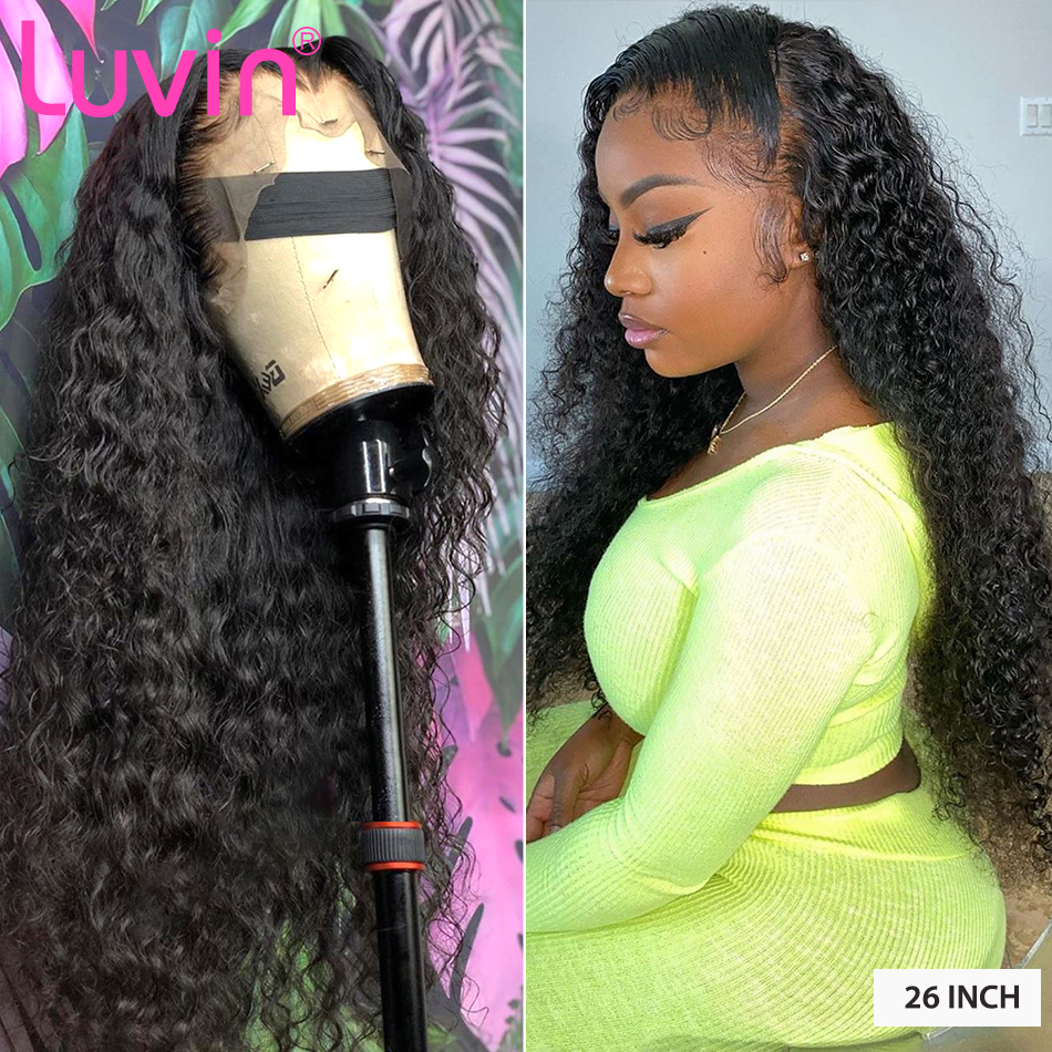 Luvin 150 Density Deep Wave Glueless Curly Lace Front Human Hair Wigs Water Wave  Black Women Brazilian Frontal Wig Plucked