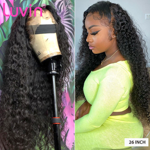 Luvin 150 density Deep Wave Glueless Curly Lace Front Human Hair Wigs Water Wave Black Women Brazilian Frontal Wig Plucked(China)