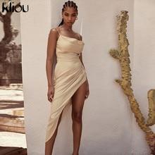 Kliou Silky Stacked Asymmetrical Dresses For Women 2020 Autumn Fashion Sexy Sleeveless Backless Spaghetti Strap Solid Vestidos