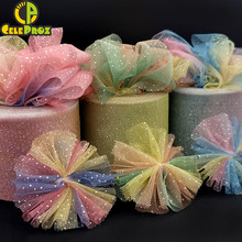 6Cm 5Yards Regenbogen Tüll Bunte Schillernden Mesh Band DIY Stirnband Pom Backen Geschenk Verpackung Material Party-Event Dekoration